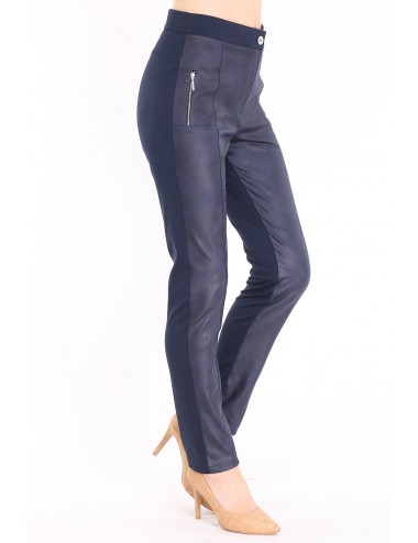Pantalon femme simili cuir taille haute.