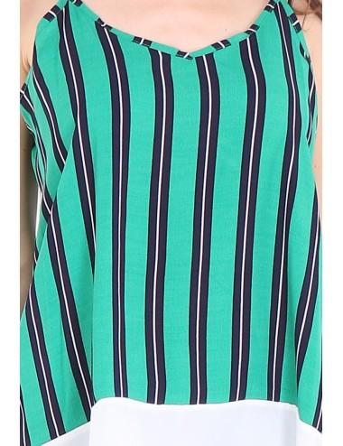 Pack 5x Top femme vert avec rayures