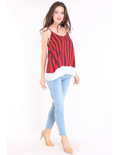 Pack 5x top femme rouge avec rayures