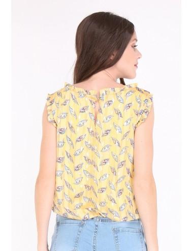 Pack top femme jaune imprimé des feuilles