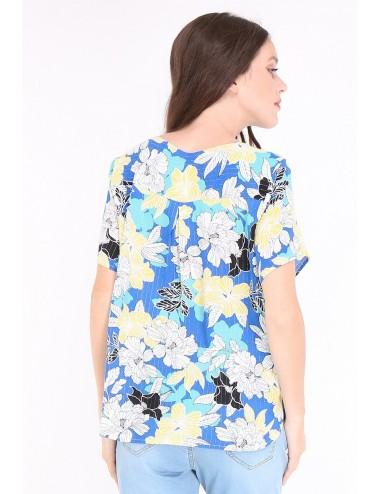 Pack 4x Top femme col V fleuri sur font bleu