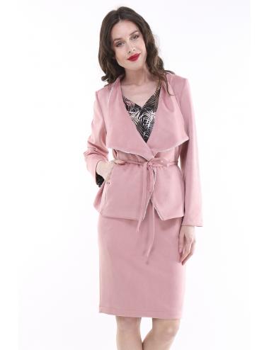 Veste ouverte en suédine rose