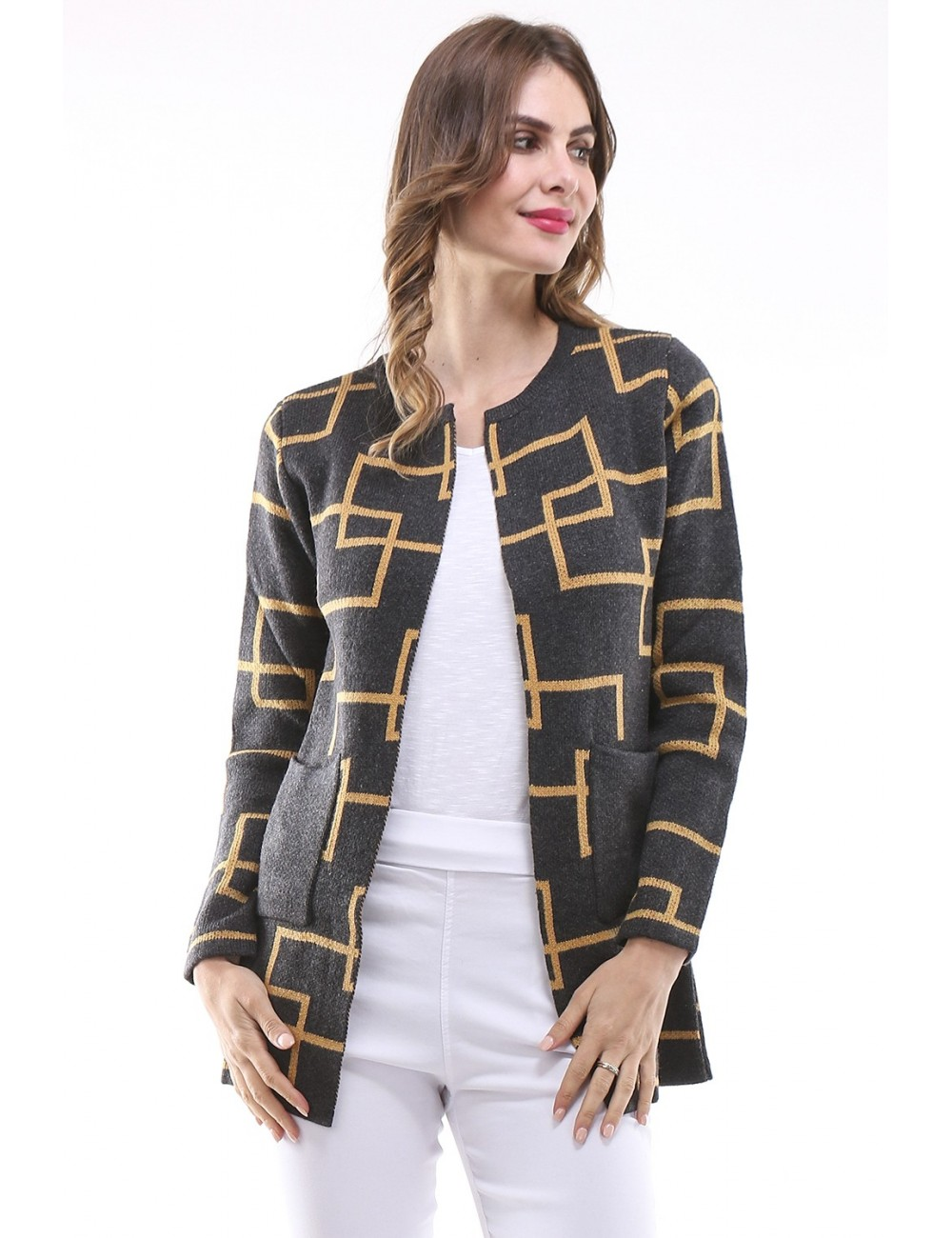 Gilet mi-long ouvert grande taille Femme manches longues avec poches style veste.