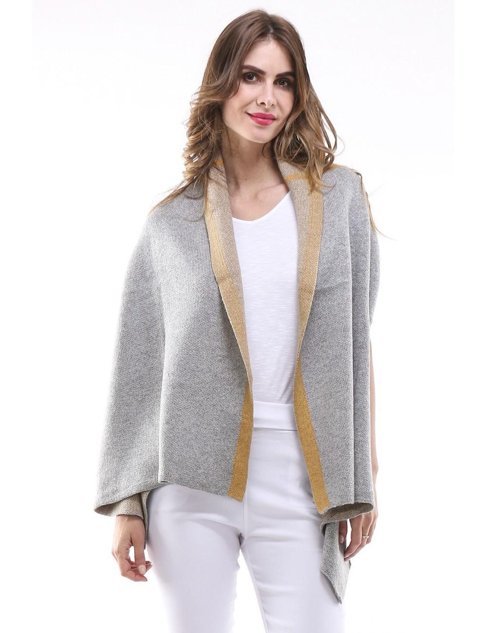 Gilet Grande Taille femme MANILEX gris/jaune