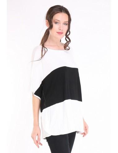Tee-shirt PONCHO GRANDE TAILLE femme couleur noir blanc.