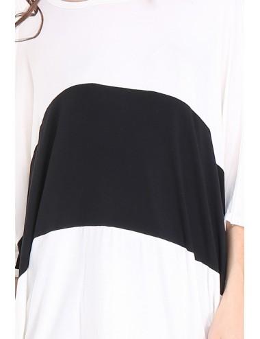 Tee-shirt GRANDE TAILLE femme TAPAULA noir/blanc.