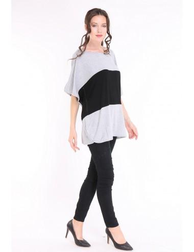 Tee-shirt GRANDE TAILLE femme TAPAULA noir/gris.