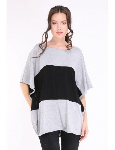 copy of Tee-shirt grande taille femme  TAPAULA noir/gris