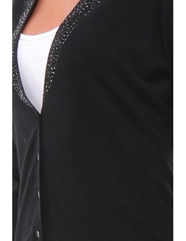 Gilet manches longues Mapilex couleur noir avec des strasses.