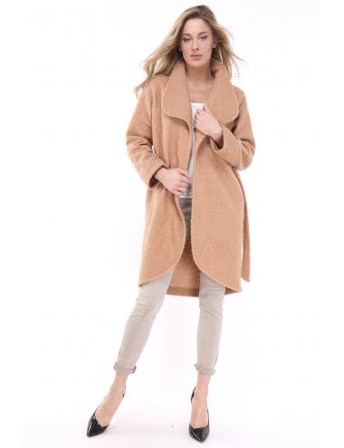 Manteau bouclette long à nouer