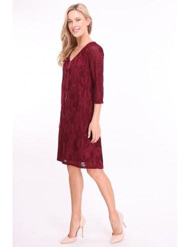 Robe Qayonacri couleur bordeaux avec zip sur le devant